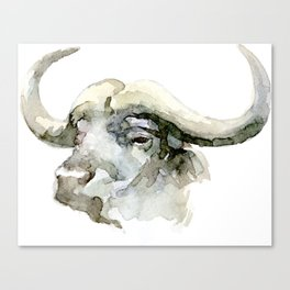 Buffalo, Bison, Watercolor Handmade Painting Canvas Print