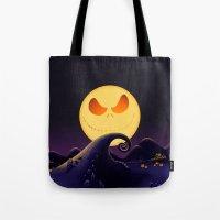 jack skellington Tote Bags featuring Starry Night Jack Skellington by ThreeBoys