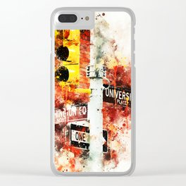 NYC Watercolor Collection - Manhattan Signs Clear iPhone Case