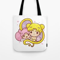 sailormoon Tote Bags featuring Sailor Moon Princesses by Azul Piñeiro