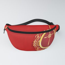 Beautiful red egg with gold cross on rich vibrant texture Fanny Pack
