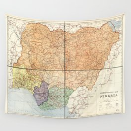 Administrative Map of Nigeria (1965) Wall Tapestry