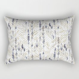 White Blue Antique Gold Abstract Floral Pattern Rectangular Pillow