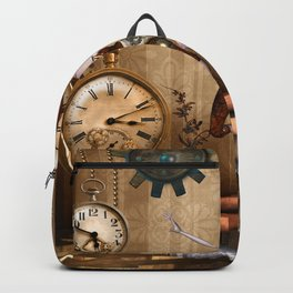 Cute little steampunk girl with clocks and gears Backpack