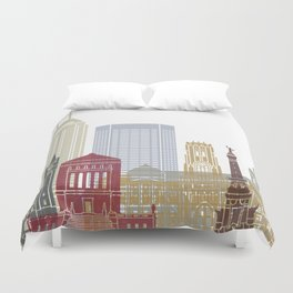 Indianapolis skyline poster Duvet Cover
