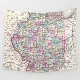 Vintage Map of Illinois (1855) Wall Tapestry