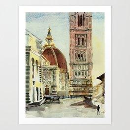 florence duomo original watercolor of Italy Art Print