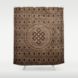 Endless Knot Decorative on Wooden Surface Shower Curtain