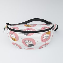 Cute Cat Paws, Pattern Of Paws, Hearts - Pink Gray Fanny Pack