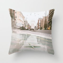 Starfish in the city by GEN Z Throw Pillow