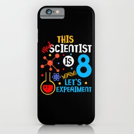 8th Birthday This Mad Scientist Is 8 Let's Experiment  iPhone Case