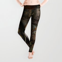 Steampunk, wonderful clockwork with gears Leggings