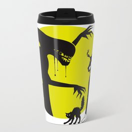 Alien Cartoon Style - Green Metal Travel Mug