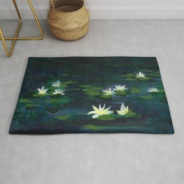 Water Lilies at Night Rug