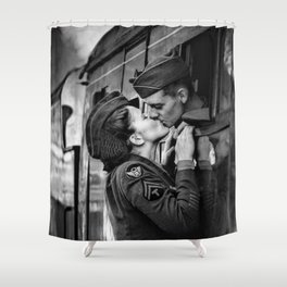 The Kiss - The Last Goodbye - Lovers kissing goodbye through open window on train black and white photograph Shower Curtain