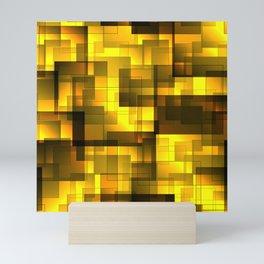 Mosaic of golden volumetric squares with a shadow. Mini Art Print