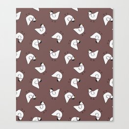the happy french hen in lilac greige Canvas Print