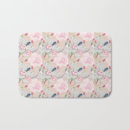 Watercolor Roses and Blush French Script Bath Mat