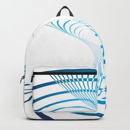 BLUE CURVES ON A WHITE BACKGROUND Abstract Art Backpack