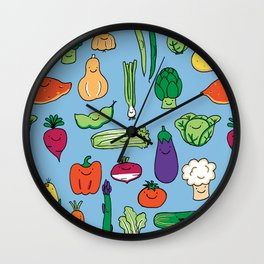 Cute Smiling Happy Veggies on blue background Wall Clock