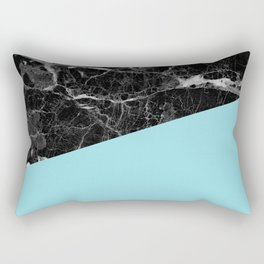 Black marble and island paradise color Rectangular Pillow