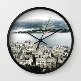 Alesund from the top of the hill Wall Clock