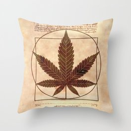 vitruvian marijuana Throw Pillow