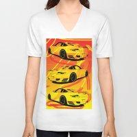 porsche V-neck T-shirts featuring Porsche  by deadfish