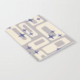 Retro Mid Century Modern Abstract Pattern 813 Gray and Blue Notebook