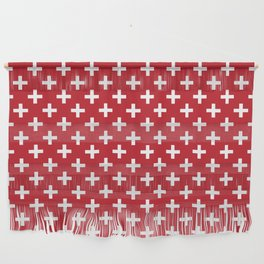 Criss Cross   Plus Sign   Red and White Wall Hanging