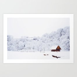 Cabin in the Snow (Color) Art Print