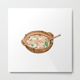 Watercolor Illustration of Chinese Cuisine - Qionghai Mutton Soup | 琼海羊肉汤 Metal Print