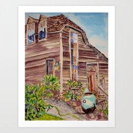 Salty Clapboard Beach House Art Print