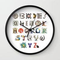 art history Wall Clocks featuring A-Z Art History by Made With Awesome