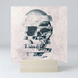 Glitch Skull Mono Mini Art Print