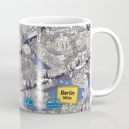 Illustrated map of Berlin-Mitte. Blue Coffee Mug