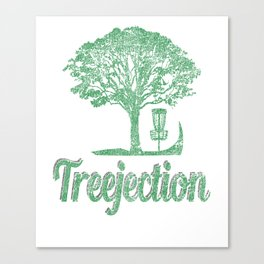 Treejection Funny Disc Golf Distressed Canvas Print