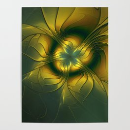 Golden Flower, Abstract Fractal Art Poster
