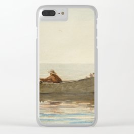 Three Boys in a Dory with Lobster Pots Clear iPhone Case