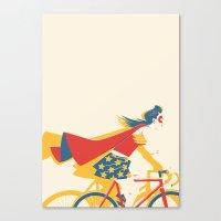 superheroes Canvas Prints featuring Superheroes SF by Matt Taylor