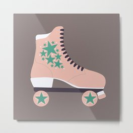 Retro Star Skate- Baby Pink and Turquoise  Metal Print