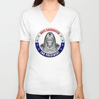sasquatch V-neck T-shirts featuring Sasquatch For President by politics