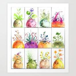 Sprout Heads Art Print