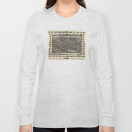 Vintage Pictorial Map of New Brunswick NJ (1910) Long Sleeve T-shirt
