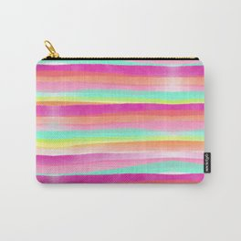 Modern bright pastel pink turquoise yellow rainbow hand painted summer watercolor stripes pattern Carry-All Pouch