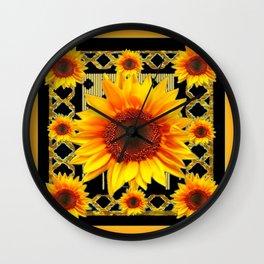 Italian Style Art Deco Golden Sunflower Art Wall Clock