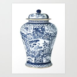 Blue & White Chinoiserie Cranes Porcelain Ginger Jar Art Print