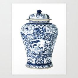Blue & White Chinoiserie Cranes Porcelain Ginger Jar Art Print