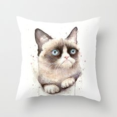 Grumpy Watercolor Cat Animals Meme Geek Art Throw Pillow