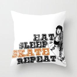 Eat Sleep Skate Repeat Funny Gift for Skateboarders Throw Pillow